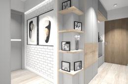 Szare mieszkanie z białą cegłą