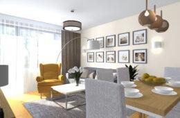 Rodzinne mieszkanie z musztardowym fotelem