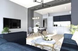 Elegancki, granatowy apartament w stylu glamour